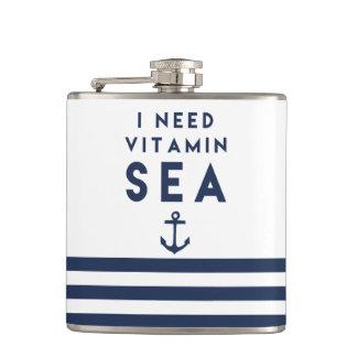 I Need Vitamin Sea Navy Anchor Quote Flask