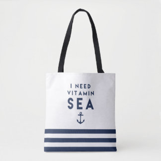 I Need Vitamin Sea Navy and White Nautical Stripe Tote Bag