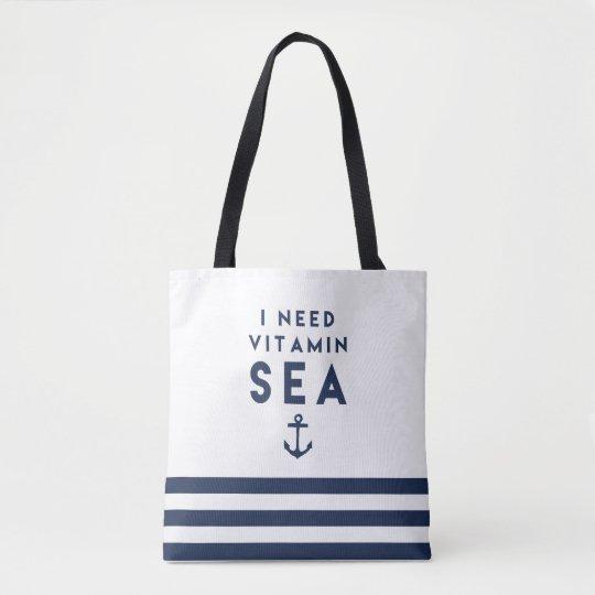 I Need Vitamin Sea Navy and White Nautical