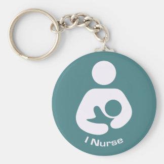 I Nurse Pro-Breastfeeding Icon (Teal) Basic Round Button Key Ring