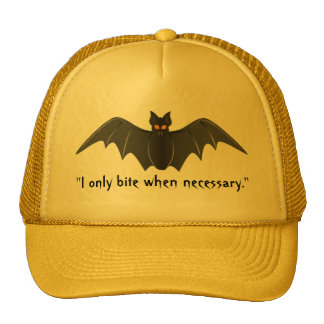 """I Only Bite When Necessary."" - Bat in Flight Cap"