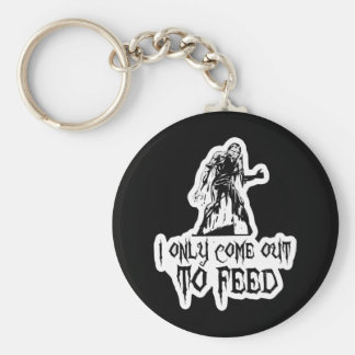 I Only Come Out To Feed Retro Zombie Basic Round Button Key Ring