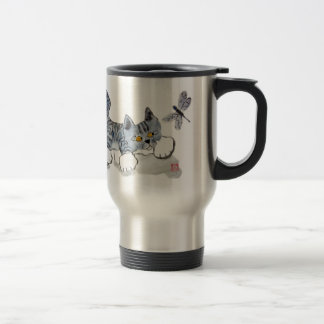 I Only have Eyes for You - kitten and dragonfly Travel Mug