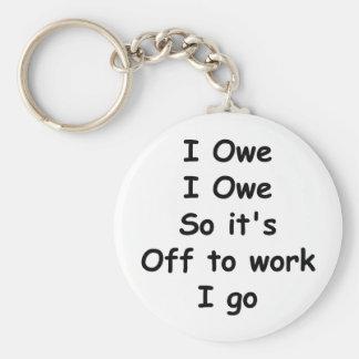 I Owe, I Owe Basic Round Button Key Ring