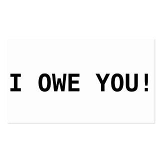 I owe you! business cards