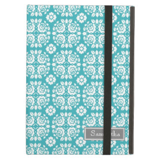 i Pad Aqua Damask Custom Name Case For iPad Air