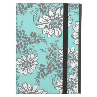 i Pad Aqua Gray Floral Pattern Cover For iPad Air