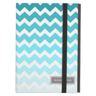 i Pad Blue Ombre Chevron Custom Name iPad Air Cases