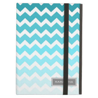 i Pad Blue Ombre Chevron Custom Name iPad Air Cover