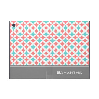 i Pad  Coral Teal Grey Pattern Custom Name iPad Mini Cover