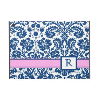 i Pad Custom Monogram Blue Pink Floral Damask iPad Mini Cover