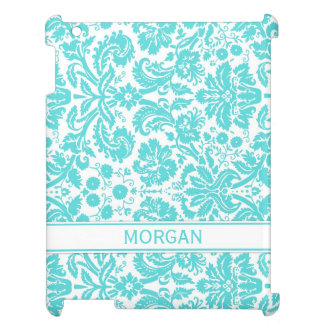 i Pad Custom Name Aqua Floral DamaskPattern Case For The iPad