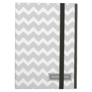 i Pad Gray Chevron Custom Name Cover For iPad Air