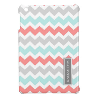 i Pad Mini Coral Teal Chevron Custom Name iPad Mini Covers