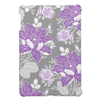 i Pad Mini Purple Gray Floral Pattern iPad Mini Case