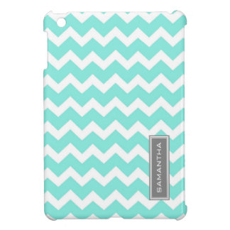 i Pad Mini Teal Chevron Custom Name Cover For The iPad Mini