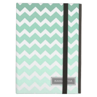 i Pad Mint Ombre Chevron Custom Name iPad Air Cover