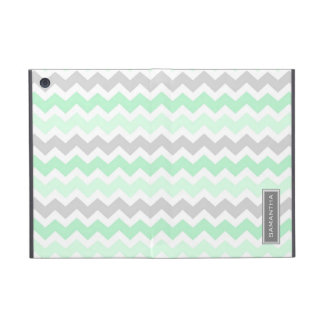 i Pad  Mint Ombre Chevron Custom Name iPad Mini Cover