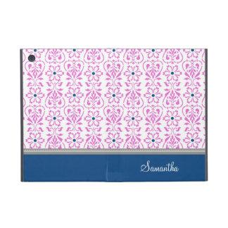 i Pad  Pink Blue Damask Pattern Custom Name Cover For iPad Mini