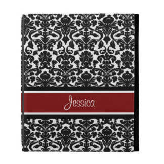 i Pad Red Damask Custom Name iPad Folio Covers