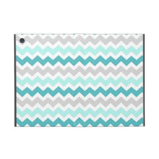 i Pad Teal Grey Chevrons Pattern Cases For iPad Mini