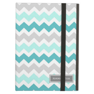 i Pad Teal Ombre Chevron Custom Name Cover For iPad Air