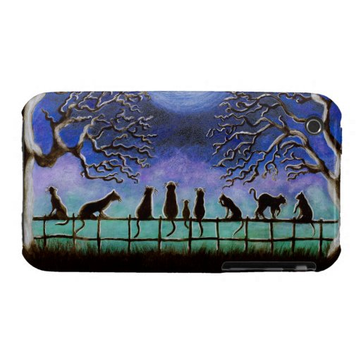 i phone 3G/3G's,case, black,cats, meadow,landcape iPhone 3 Case