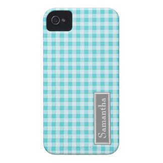 i Phone 4 Blue Gingham Custom Name iPhone 4 Case
