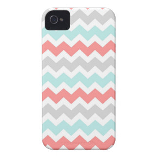 i Phone 4 Coral Aqua Grey Chevrons Pattern iPhone 4 Cover