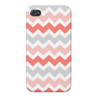 i Phone 4 Coral Grey Chevrons Pattern Case For The iPhone 4