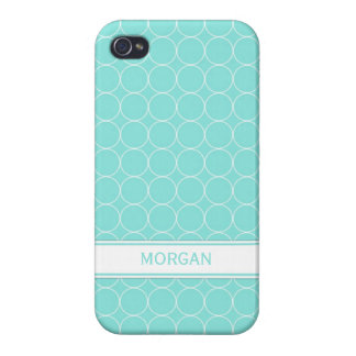 i Phone 4 Custom Name Aqua White Circles Pattern Cover For iPhone 4