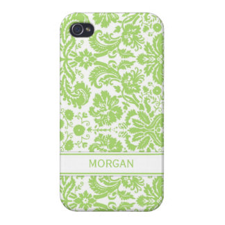 i Phone 4 Custom Name Lime Floral Damask Pattern iPhone 4/4S Case