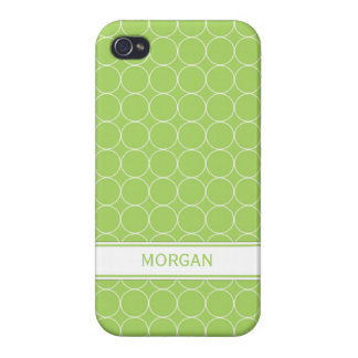 i Phone 4 Custom Name Lime White Circles Pattern iPhone 4/4S Cases