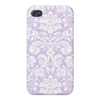 i Phone 4 Lilac Damask  Pattern Covers For iPhone 4