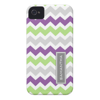 i Phone 4 Lime Plum Chevron Custom Name Case-Mate iPhone 4 Cases