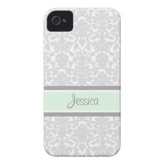 i Phone 4 Mint Damask Custom Name iPhone 4 Case-Mate Cases