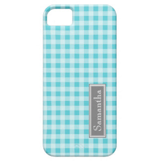 i Phone 5 Blue Gingham Custom Name Case For The iPhone 5