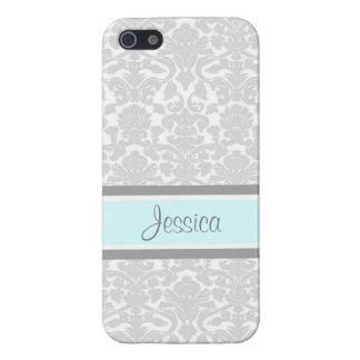 i Phone 5 Blue Gray Damask Custom Name iPhone 5/5S Cases