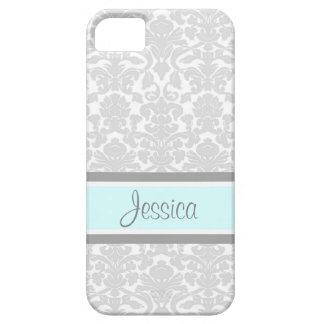 i Phone 5 Blue Gray Damask Custom Name iPhone 5 Covers