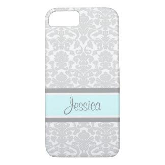 i Phone 5 Blue Gray Damask Custom Name iPhone 8/7 Case