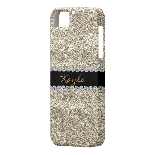 I phone 5 CASE Custom GOLD GLITTER Bling