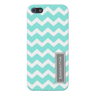 i Phone 5 Chevron Teal Custom Name Case For iPhone 5/5S