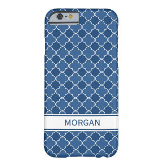 i Phone 5 Custom Name Blue Quatrefoil Pattern Barely There iPhone 6 Case