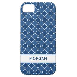 i Phone 5 Custom Name Blue Quatrefoil Pattern iPhone 5 Cover