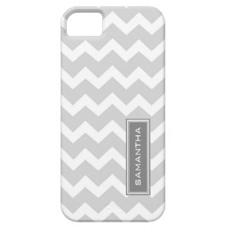 i Phone 5 Gray Chevron Custom Name Barely There iPhone 5 Case