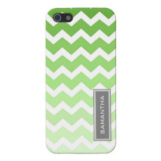 i Phone 5 Green Chevron Ombre Custom Name iPhone 5 Covers