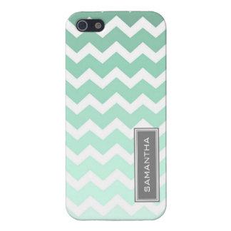 i Phone 5 Mint Chevron Ombre Custom Name iPhone 5 Cases