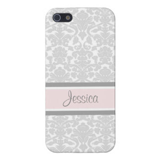 i Phone 5 Pink Damask Custom Name Case For The iPhone 5