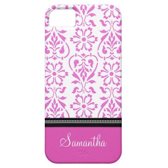 i Phone 5 Pink Damask Custom Name iPhone 5 Cover