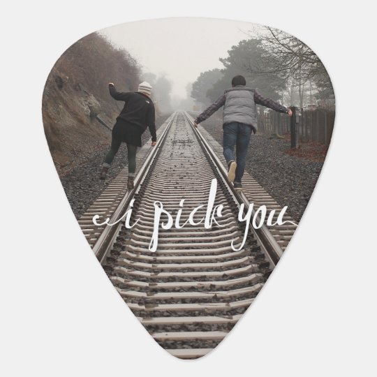 I pick you Love Ampersand Initials couples Plectrum